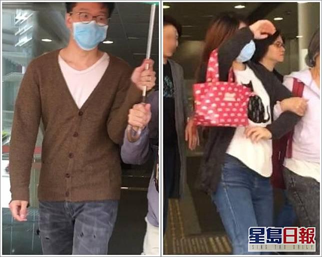 鄺耀文(左)及陳海雲(口罩者)。資料圖片