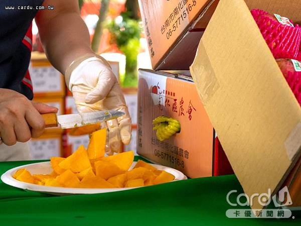 今年氣候穩定,芒果產量回歸水準,台南市產量及面積全國第一,率團到桃園推廣(圖/桃園市政府 提供)
