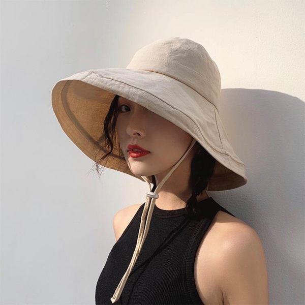 帽子夏季網紅韓版百搭日系漁夫帽女海邊出游遮陽帽遮臉大帽檐防曬