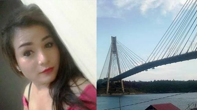Foto Juandi Saragih, korban bunuh diri diduga waria dan foto penampakan pencarian korban setelah melompat dari jembatan Balerang, Riau. (Batamnews.co.id/istimewa).