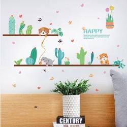 時尚壁貼 - 小清新貓與仙人掌