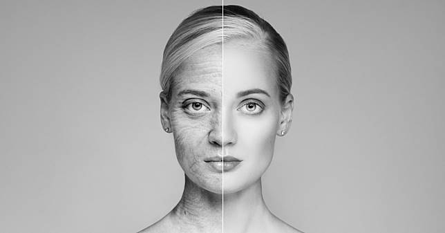 Portrait Of Old and Young Blond Woman. Ageing concept.