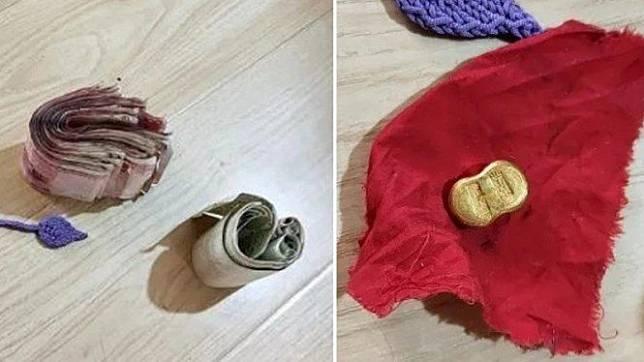 Seorang pria di China menemukan uang dan emas di sofa.