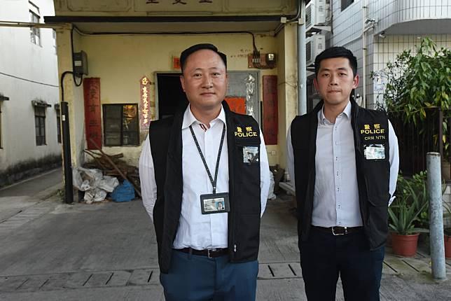 警方新界北重案組三隊總督察殷晃偉(左)