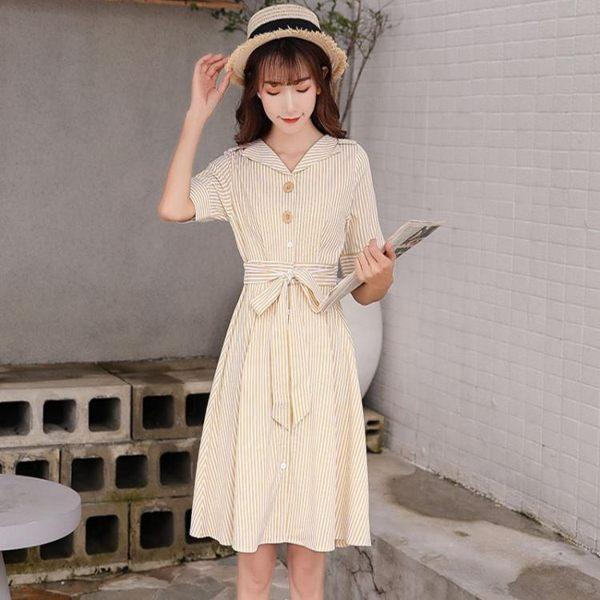條紋襯衫連身裙女2019新款夏季收腰顯瘦系帶V領小個子清新a字裙潮