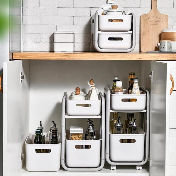 廚房置物架桌面收納盒 多功能兩層可移動小推車落地整理架
