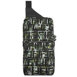 FENDI 7VZ033 經典雙F印花尼龍單肩胸口/後背包.綠/黑