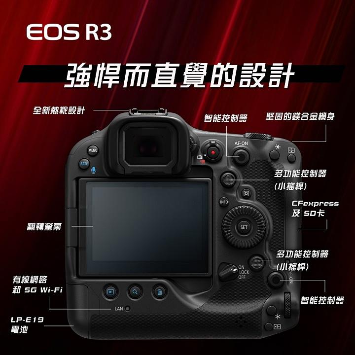 Canon EOS R3 更多規格披露,將搭載 30fps 連拍與 EV-7 對焦性能
