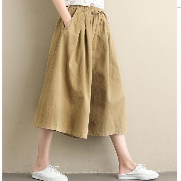 XL七分寬褲 厚素大擺面挺版-月兒的綺麗莊園
