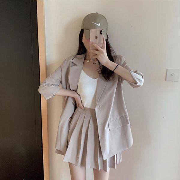 西裝外套 裙子 小西裝外套女韓版寬松英倫風西服百褶裙兩件套裝