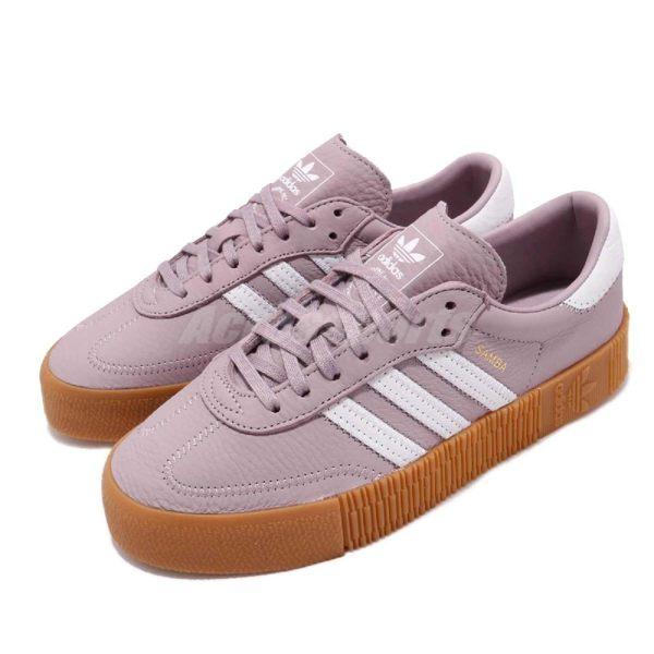 adidas 休閒鞋 Sambarose W 紫 白 膠底 金標 鬆糕鞋 厚底增高鞋 女鞋【PUMP306】 CG6205