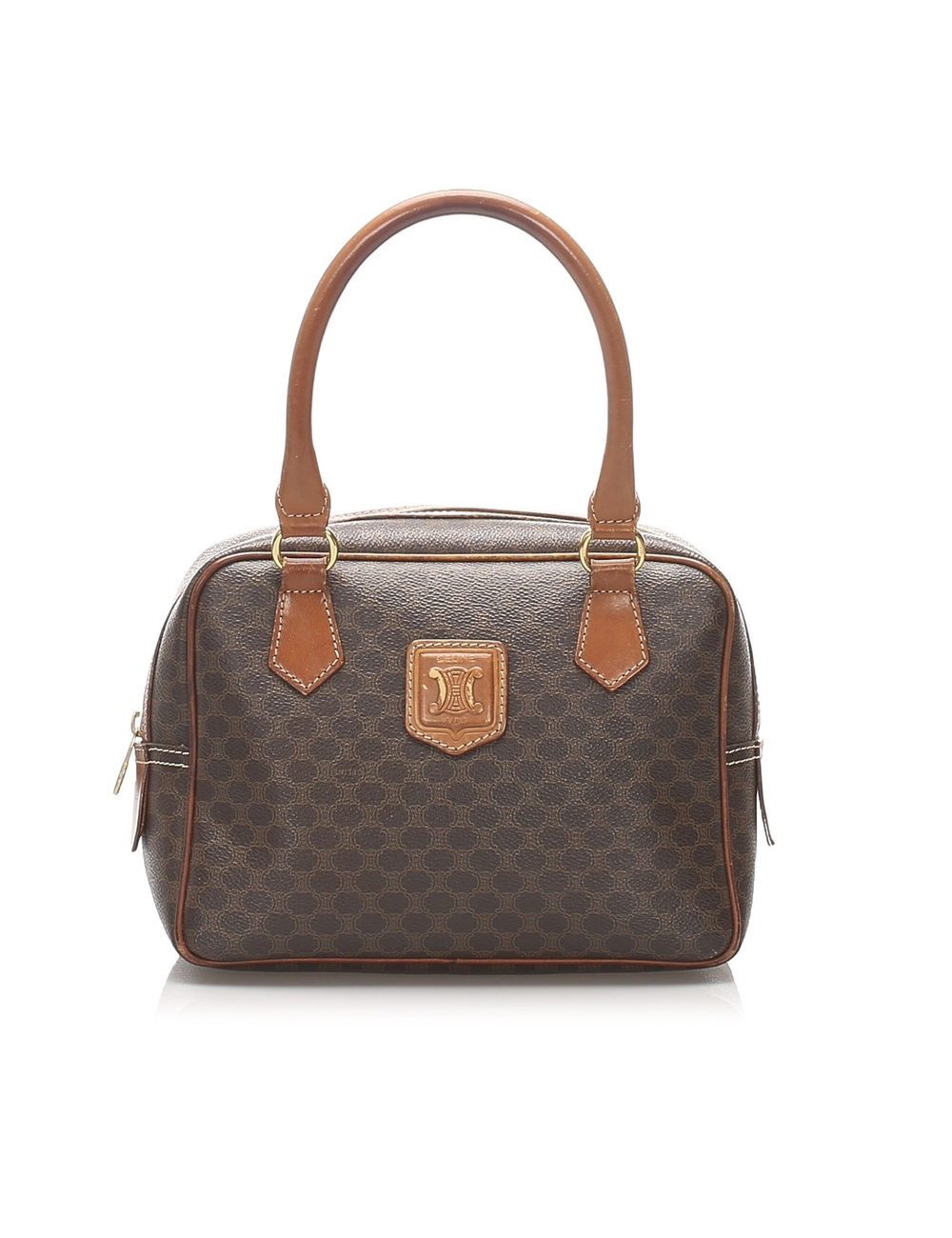 Product Details: Brown Celine Macadam Handbag Bag. This handbag features a PVC body, rolled leather