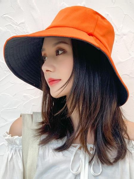 漁夫帽女夏韓版潮日系網紅雙面遮臉防紫外線帽子大沿防曬帽遮陽帽 朵拉朵衣櫥