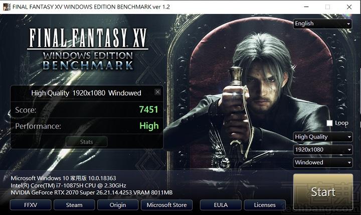 利用Final Fantasy XV Benchmark 進行遊戲圖形效能測試在 Full HD 解析度下,畫質設在 High Quality 下進行測試,獲得 7,451 分與 High 效能等級。 ▲ 以《刺客教條:奧德賽》進行測試,將畫面品質與特效設定在高下,測得約 75fps 水準。