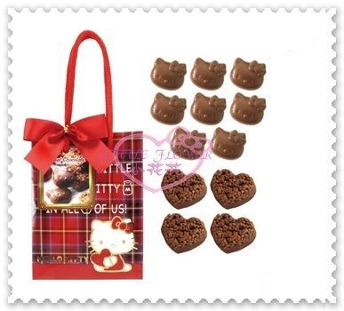 ♥小花花日本精品♥Hello Kitty 巧克力情人節巧克力附提袋送禮首選情人節禮物日本限定 99943905