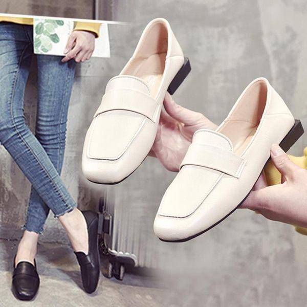 平底鞋 小皮鞋女春季懶人樂福鞋豆豆鞋英倫學院風復古女平底黑色單鞋 芊惠衣屋