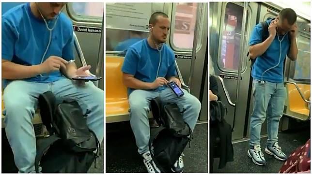 1名男子拿出聽診器放在手機音源地方,似乎想藉此聽音樂。(合成圖/翻攝自臉書粉絲團)