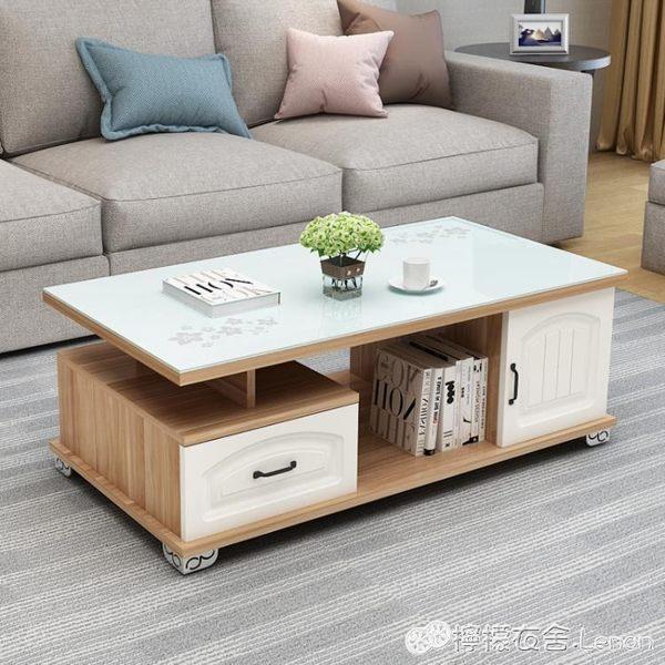 電視櫃茶幾簡約現代客廳鋼化玻璃小戶型歐式客廳電視櫃組合小茶幾茶桌子