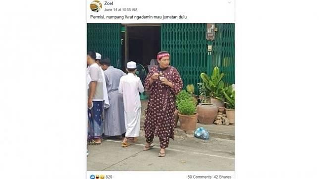 Pakaian mewah yang dipakai saat shalat Jumat ini membuat netizen heboh. (Facebook/ Zoel)