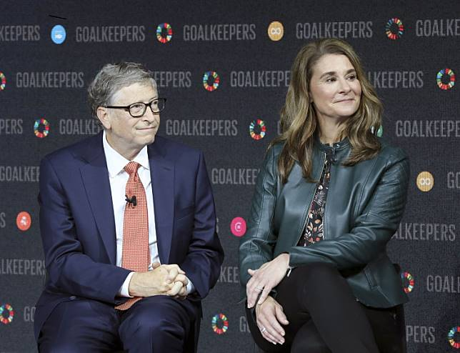 In this file photo taken on Sep. 26, 2018 Bill Gates and his wife Melinda Gates introduce the Goalkeepers event at the Lincoln Center in New York.Earlier this month the Bill and Melinda Gates Foundation committed up to $100 million for the global response to the outbreak