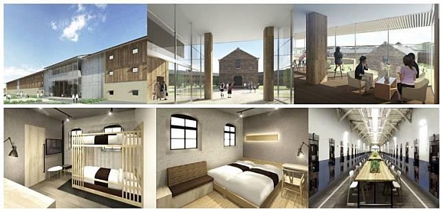 監獄酒店早期發放的概念圖,可見舒適之餘,仍不失舊有建築風格。(互聯網)