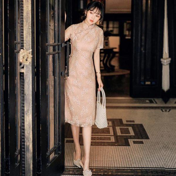 旗袍 新式旗袍 年輕款 日常 改良版 連衣裙 夏2019中國風 法式復古裙 快速出貨