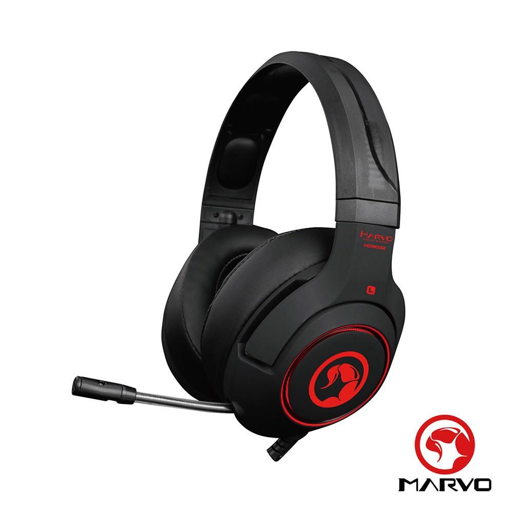 【MARVO】 HG9032 7.1聲道USB 電競耳罩式耳機 產品編號:MV-HG9032● 7.1 聲道 LED 紅光耳罩式耳機● 麥克風、燈光一鍵開關● 可伸縮頭戴,符合人體工學● 滾輪式輕鬆調