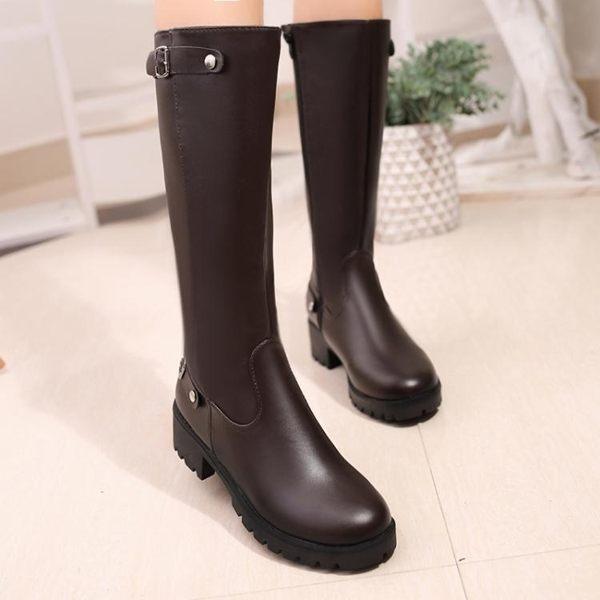 秋冬新款靴子皮靴女長靴單靴粗跟平底加絨高筒騎士靴長筒軍靴馬靴