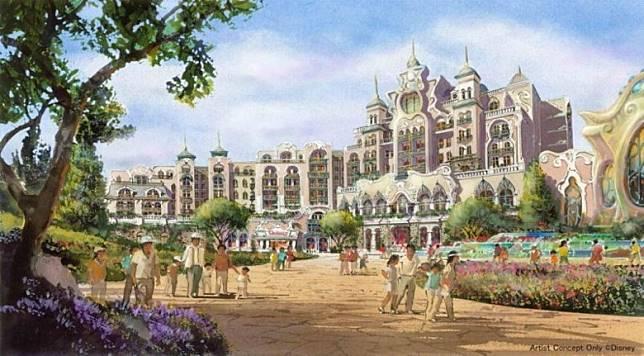 新酒店預計有475間客房,而且會加入《魔雪奇緣》、《魔髮奇緣》和《小飛俠》的故事題材。(互聯網)