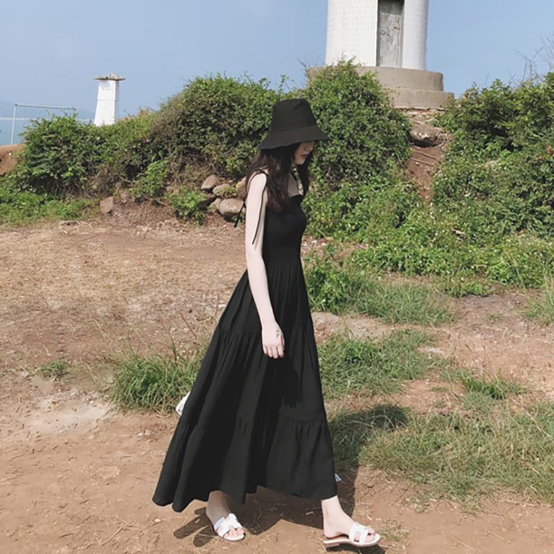適合拍照的連衣裙子及踝長裙氣質赫本心機小黑裙巴厘島沙灘裙女夏