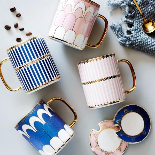 創意英倫陶瓷情侶馬克杯水杯ins北歐下午茶輕奢杯子咖啡杯帶蓋勺
