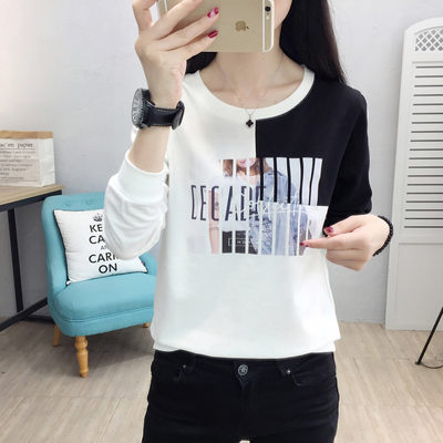 實拍8778# 韓版新款2019長袖T恤 時尚撞色拼接大碼上衣潮衛衣H361朵維思