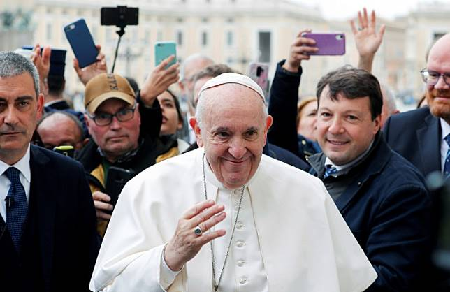 Pope Francis greets faithful during the weekly general audience at Vatican, Feb. 26, 2020.