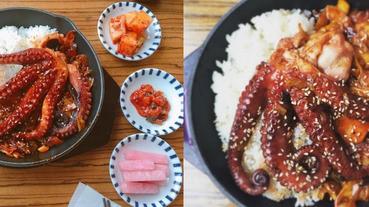 濟州島必吃,超強大石鍋章魚飯!你看過整隻章魚趴在白飯上嗎?