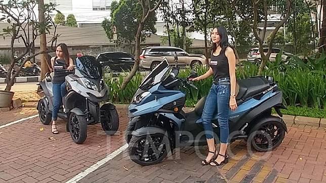 Qooder skuter dengan empat roda asal produsen otomotif Swiss saat peluncuran di Kawasan Jalan Pangeran Antasari.