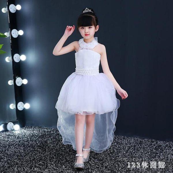 新款白色兒童唱歌演出服女童主持人小孩花童鋼琴晚禮服裙長紗裙子