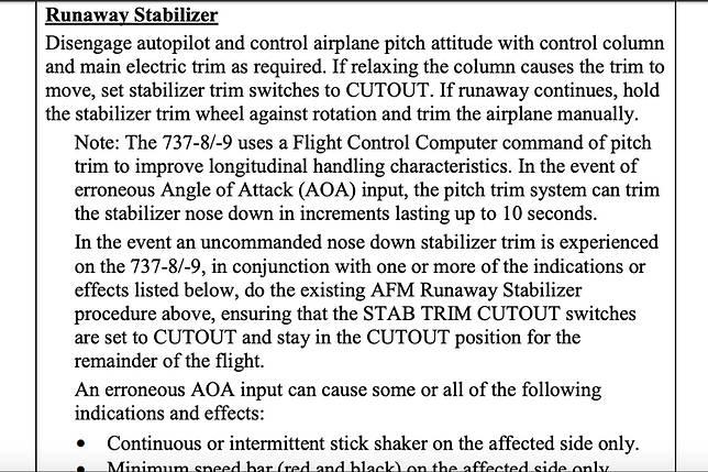 Rekomendasi FAA jika mengalami kondisi Runaway Stabilizer saat terbang dengan B737 MAX.(Boeing)   Artikel ini telah tayang di Kompas.com dengan judul