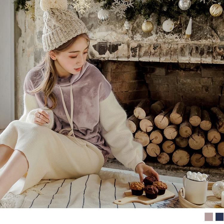 版型偏大 請依照個人喜愛的舒適度購買 帶有微奢華光澤感的法蘭絨質料, 拼接細密的厚針織毛衣袖,讓溫暖度更加倍 ~ 細緻的質感加上抽繩高領、下襬設計增添休閒風格, 隨心搭配簡約的下著,甜美造型簡單完成