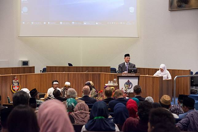 Religious Affairs Minister Lukman Hakim Saifudin speaks at the second international conference on moderate Islam in Nijmegen, the Netherlands, on June 19.