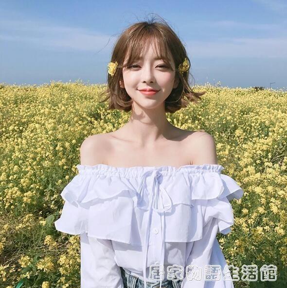 春季新款韓國東大門甜美一字領層層木耳邊荷葉邊露肩上衣襯衫 居家物語