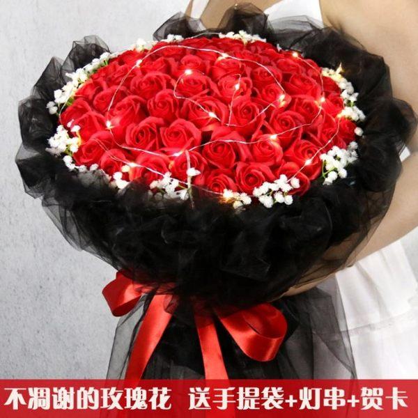 仿真玫瑰香皂花束520母親節送老婆媽媽女生閨蜜生日禮物錶白禮品【母親節禮物】JY