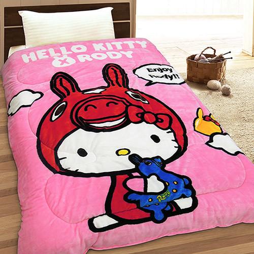 HELLO KITTY & RODY 幸福時光 法蘭絨毯被(粉)(紅)