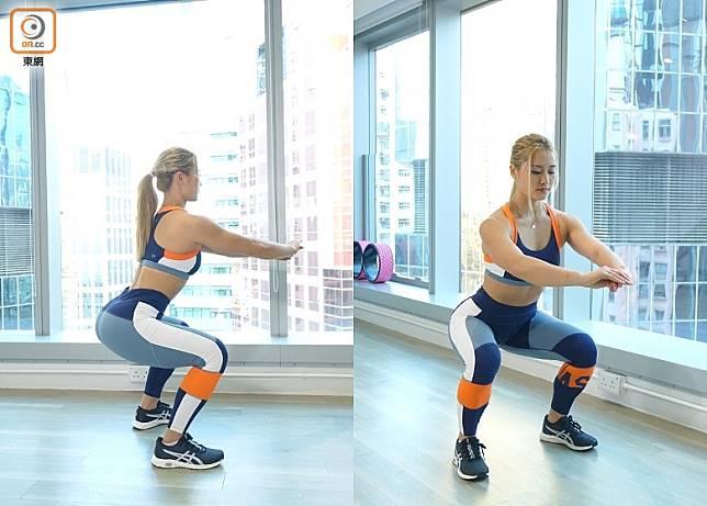 蹲下時直到臀部跟大腿成打橫一直線 ,Hold住動作。再慢慢上來。上來時緊記臀部收實,再重複動作。上來時腳踭要踩實地下,不要趷高。(胡振文攝)