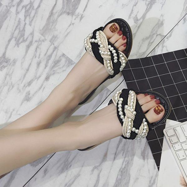 草編鞋 歐美珍珠一字型女拖鞋草編平底涼拖沙灘鞋百搭女拖潮 伊衫風尚