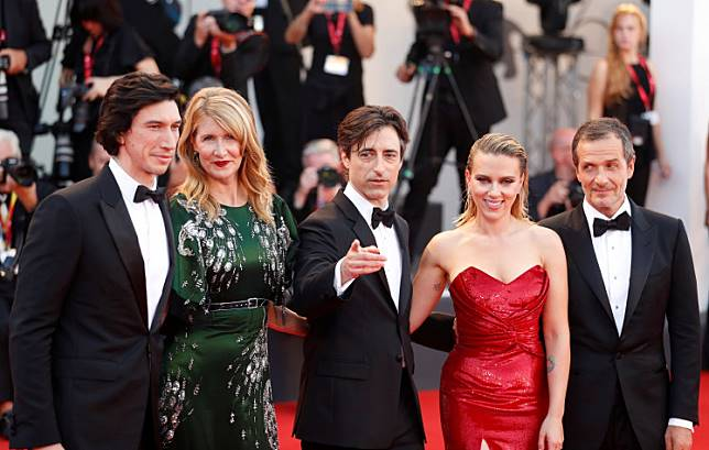 Actors Adam Driver, Laura Dern and Scarlett Johansson, director Noah Baumbach and producer David Heyman pose at the screening of 'Marriage Story' at the The 76th Venice Film Festival in Venice, Italy, on August 29, 2019.