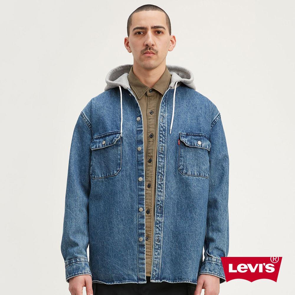 貨號:77385-0000levis 男款 襯衫連帽外套 / 牛仔工裝設計 / oversize寬鬆長版