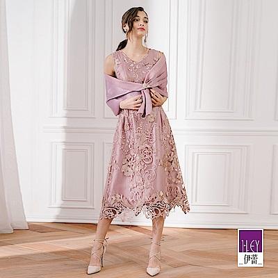 週三新品上市高級刺繡紗網蕾絲領口精緻珠飾亮片質感緞面包邊裙襬縷空剪花設計