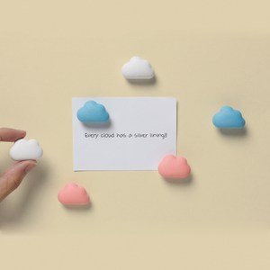 QUALY|朵朵雲兒-磁鐵(藍粉白)