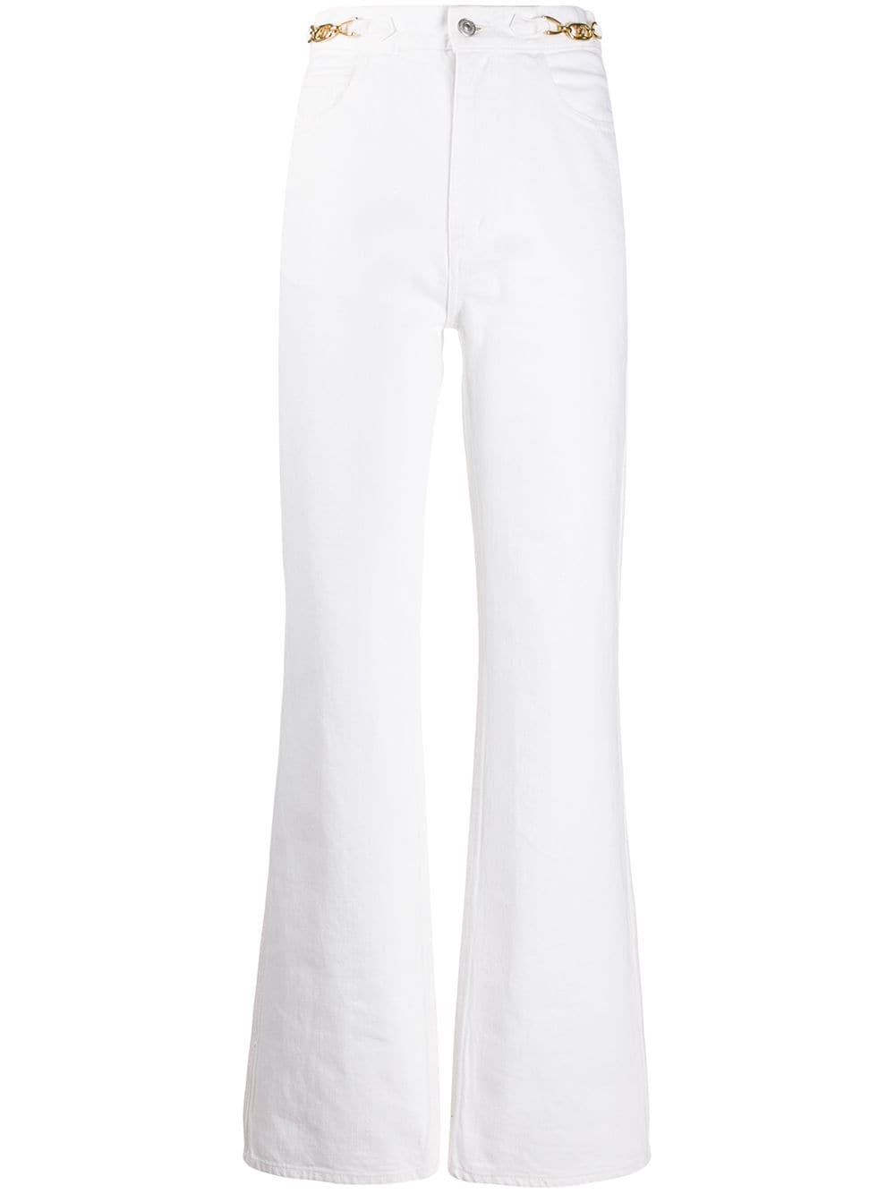 White cotton high rise flared jeans from Celine featuring a high rise, a waistband with belt loops,