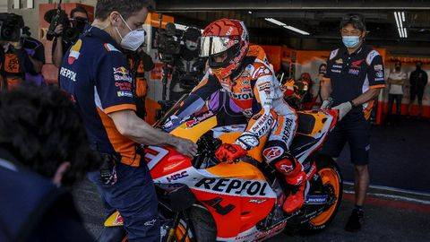 Marc Marquez akan menjalani balapan kedua di MotoGP 2021 di Sirkuit Jerez. (AFP/PATRICIA DE MELO MOREIRA)